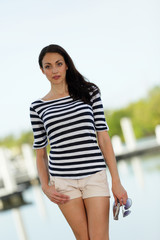 Stock image woman in a striped shirt
