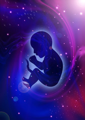 Silhouette illustration of human fetus on cosmic background