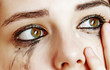 watery eyes - sensitive eyes of young girl - cying eyes.