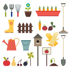 Garden and gardening tools icon set. Isolated on a white backgro