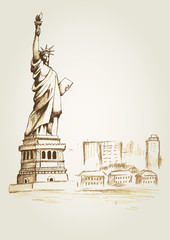 Sketch illustration of the statue of Liberty in New York City