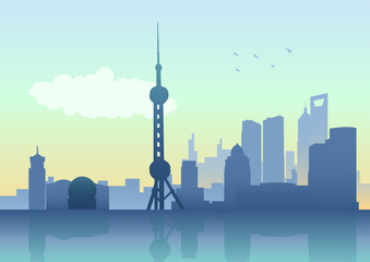 Silhouette illustration of Shanghai skyline