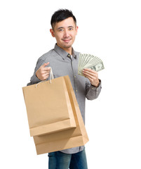 Asian man with paper bag and cash