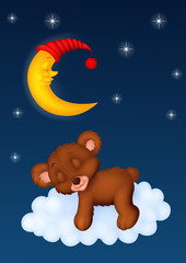 The teddy bear sleep on the moon