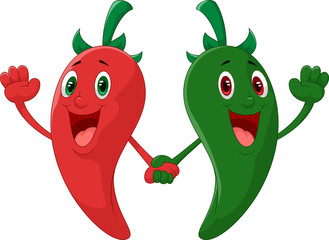 Red and green pepper holding hand