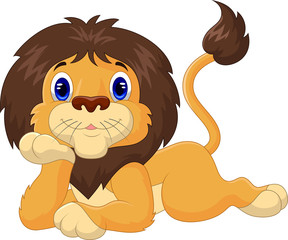 Cute cartoon lion relaxing