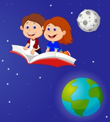 Boy and girl flying on a book