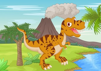 Prehistoric scene with tyrannosaurus cartoon