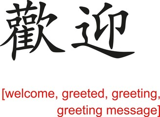 Chinese Sign for welcome, greeted, greeting, greeting message