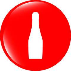 bottle with drink - icon glossy button isolated