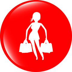Shopping woman with bags, web icon isolated on white