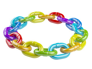 metal colored chain circle. teamwork concept