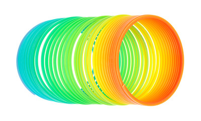 Spiral Spring Toy On White Background Partially Uncoiled