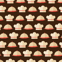 Seamless pattern with restaurant and kitchen utensils.
