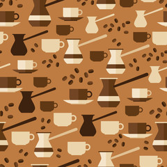 Seamless pattern with coffee icons in flat design style.