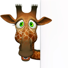 Giraffe with a blank board