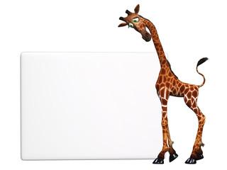 cartoon giraffe with a blank sign