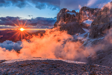 suset in Dolomite Alps, Italy