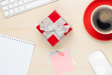 Red gift box on office table