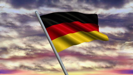 Looping German flag animation with sky background