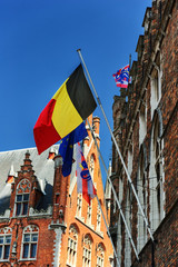 Belgian, European and Bruges flags