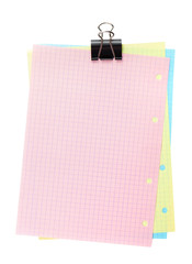 Colorful lined office paper with clip