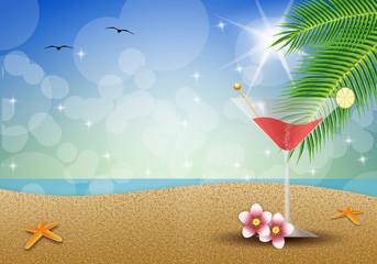Fruit drink on the beach