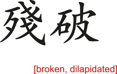Chinese Sign for broken, dilapidated