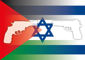 israel palestine flags with guns