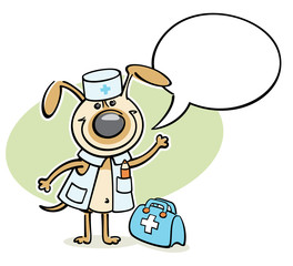 cartoon dog - veterinarian character with speach bubble