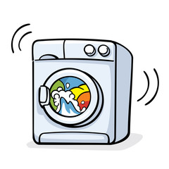 vector illustration with washer machine working