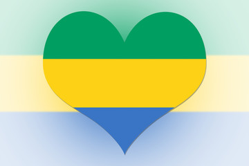 Gabon Flag heart