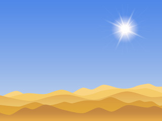 Desert landscape with clear blue sky and sun