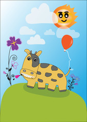 vector.happy cow on pasture flower blue sky