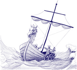 Long boat drakkar pencil drawing