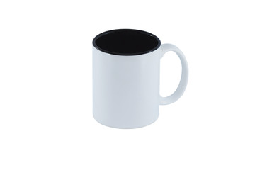 White mug with black inside isolated on white background