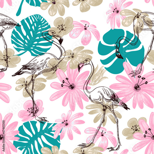 Flamingo and flowers exotic garden seamless pattern © Danussa