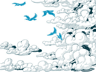 Sky background, clouds and blue birds flying, doodle