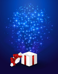 Blue starry background with gift box