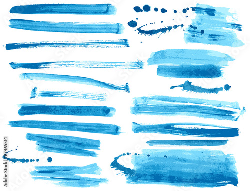Fotobehang Vormen Watercolor blue ink brush strokes collection