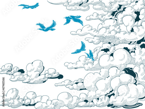 Sky background, clouds and blue birds flying, doodle - 67465566