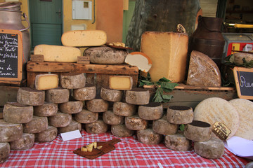 Cheese at a market stall