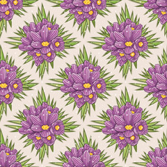 Seamless floral pattern with crocus
