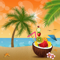 Coconut with fruits on the beach