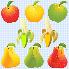 vector fruits: apple, pear, banana of different colors