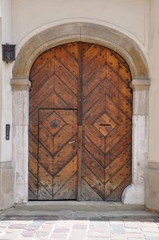 Ancient wooden brown door