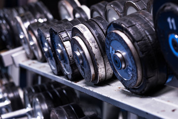 Close up of dumbells