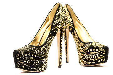 High heels shoes with inner platform an rhinestones