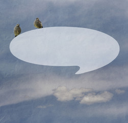 Messages icon sits bird, background sky with clouds