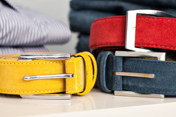 Display of man belts in a shop